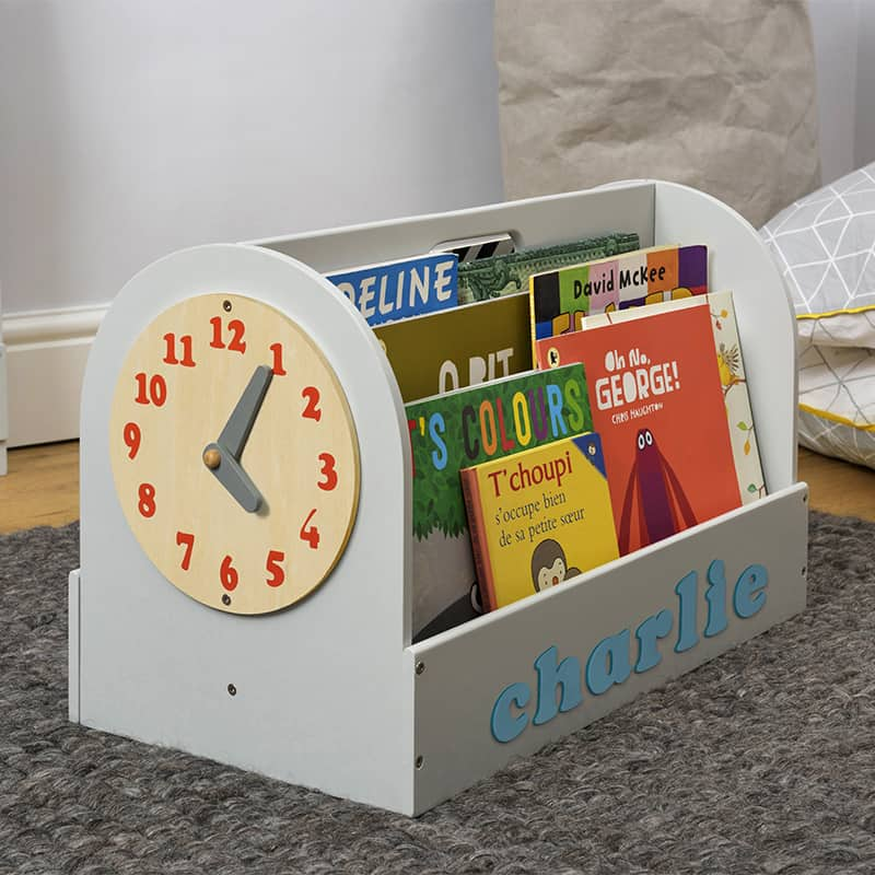 Tidy Books Children's Book Storage Box, Children's Book Storage Box, Tidy Books Book Box, Book Box, Tidy Books Box, Tidy Books Personalised Wooden Box Grey, Personalised Wooden Book Box
